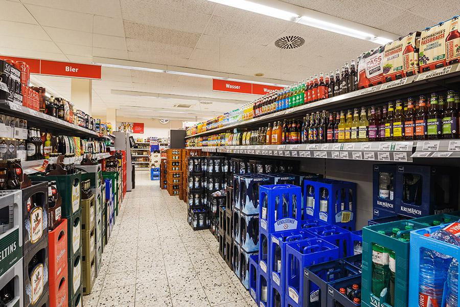 Getränkebereich im REWe in Friedrichshafen